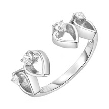 Toe Ring with Hearts in Sterling Silver with Cubic Zirconia - $19.80