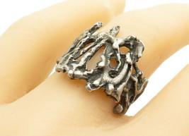 925 Sterling Silver - Vintage Sculpted Modernist Design Band Ring Sz 8 -... - $31.15