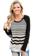 Black Striped Patch Elbow Raglan Blouse  - $21.24