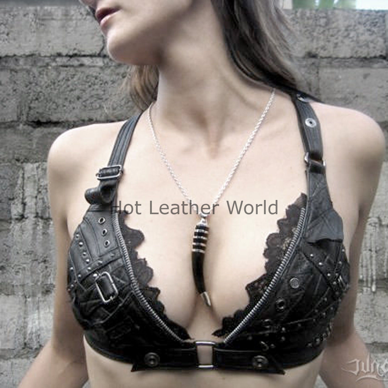 Halter Biker Hot Women Genuine Leather Top Women Leather Bra Leather Bralette