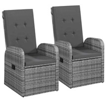 "vidaXL 2x Outdoor Armchairs Poly Rattan 41.3"" Gray Garden Wicker Patio C... - $209.99"