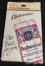 Vintage Hallmark Budweiser Beer Invitations 8 Invites Cards New Unused in Pkge - $10.75