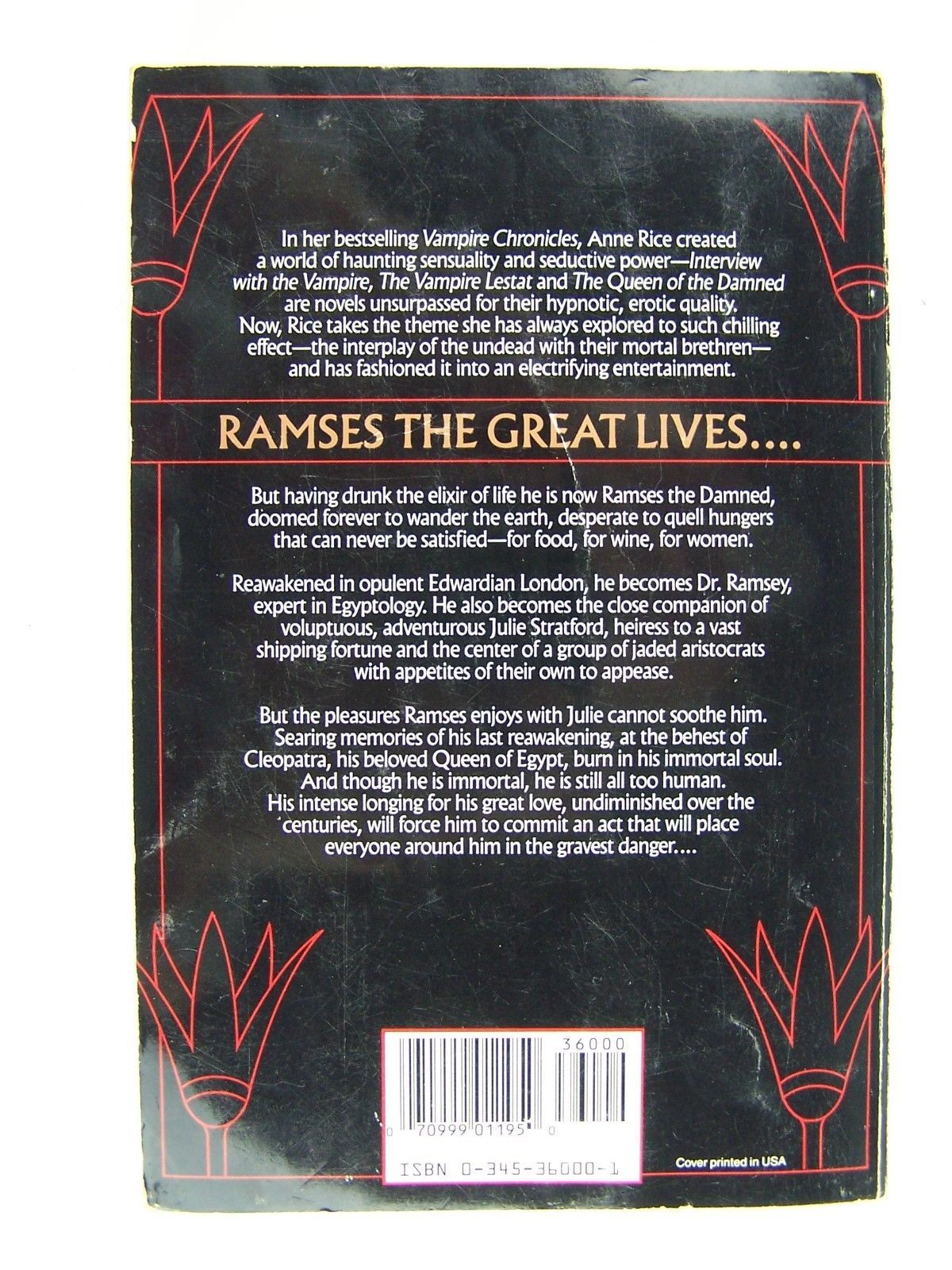 Anne Rice The Mummy Or Ramses The Damned  A Novel Large