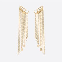 AUTH Christian Dior 2020 CHARM DANSEUSE ETOILE PEARL GOLD MULTI STRAND EARRINGS