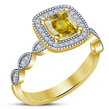 Christmas Gifts For Girls 925 Silver Cushion Cut Yellow Sapphire Womens ... - $78.74
