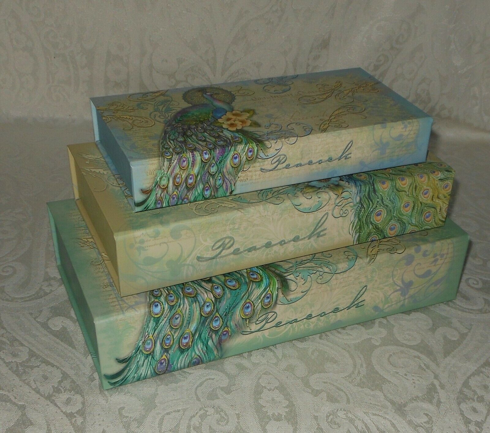 Primary image for 3 Punch Studio Vintage Teal Peacock Gift Memory Nesting Boxes NEW FREE SHIPPING