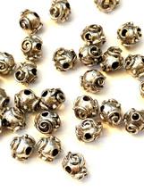 2 - Round Swirl Fine Pewter Beads