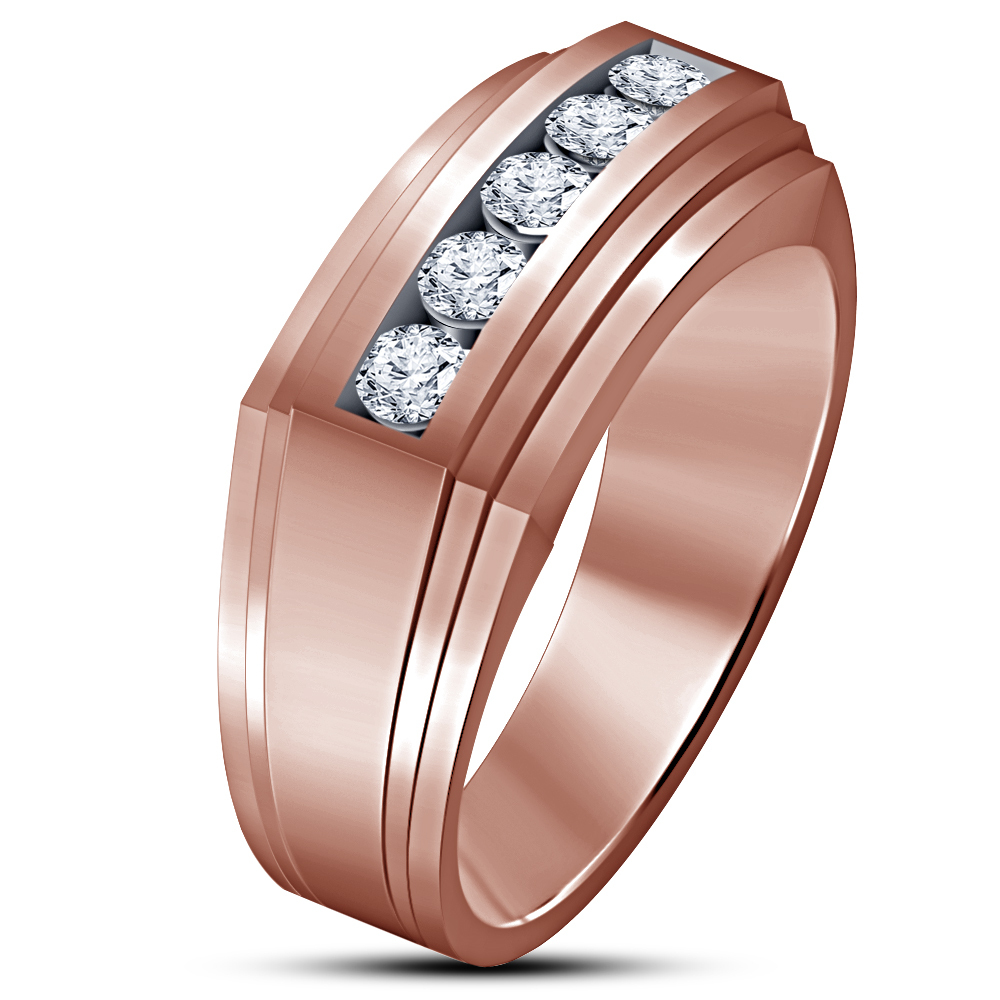 14k Rose Gold Finish 925 Sterling Solid Silver Mens Diamond Engagement Band Ring - $82.16
