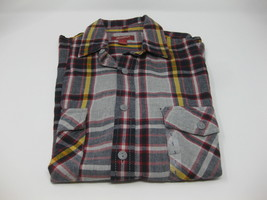 NEW Arizona Jean Long Sleeve Button Front Plaid Shirt Flannel Small Red Yellow - $11.87