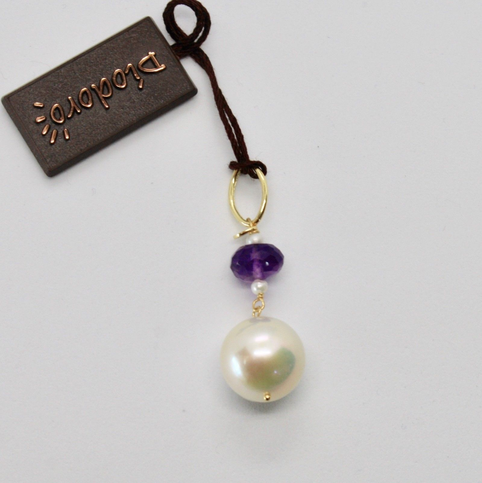 SOLID 18K YELLOW GOLD PENDANT WITH WHITE FW PEARL AND AMETHYST,  MADE IN ITALY