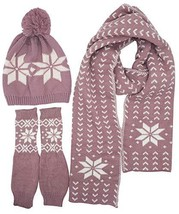 Lovful Women's Girls Woolen 3 Piece Snowflake Hat Gloves and Scarf Sets,... - $40.99