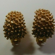 Vintage Signed Coventry Gold-tone Textured Clip-on Earrings Pat. # 2733491 - $22.76