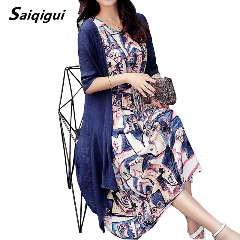 Saiqigui  Summer dress women dress casual Loose tow piece Cotton Line dress Prin image 3