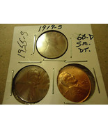 THREE LINCOLN CENT COINS     >> 1955-S 1919-S 1960-D SMALL DATE  - $3.91