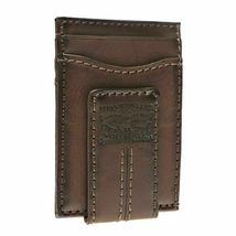 Levi's Men's Two Horses Logo Magnetic Card Case With Clip Brown Wallet image 3