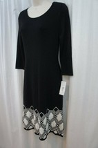 Sangria Dress Sz S Black Ivory Multi 3/4 Sleeve Casual Business Sweater ... - $39.53