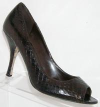 Enzo Angiolini 'Maylie' peep toe brown leather snake print heel shoe 9M - $17.23