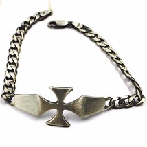 Silver Bracelet 925, Burnished and Satin, cross Central and Grumetta - $150.78