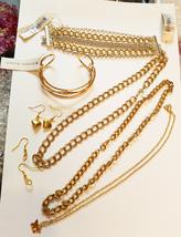 gold jewelry lot chain necklaces earrings bracelets metals 7 piece unisex - $25.00