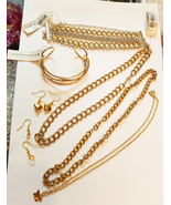 gold jewelry lot chain necklaces earrings bracelets metals 7 piece unisex - $25.00