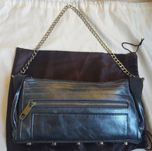 Rebecca Minkoff metallic silver leather Lex clutch suede flaps shoulder bag - $65.00