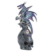 Mystical Jeweled Dragon And Skull Figurine Purple and Aqua Color Collect... - $23.71