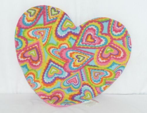 Molly N Me Multi Colored Hearts Pink No Slip Backing Floor Bath Mat