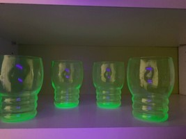 Vintage Depression Vaseline Green Uranium Juice Glasses Blacklight Teste... - $31.79
