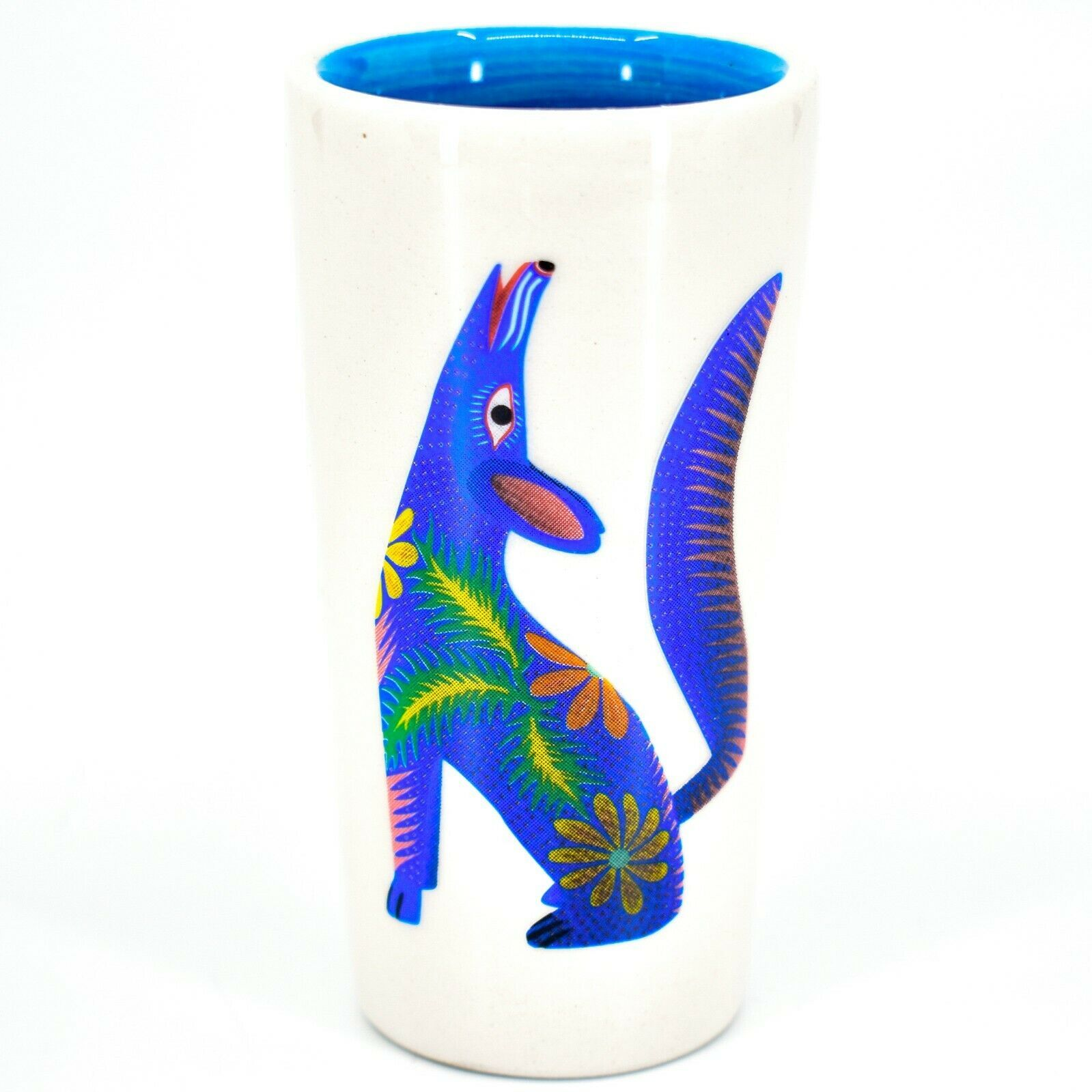 Howling Wolf Alebrije Printed Ceramic Tequila Shot Glass Shooter Made in Mexico