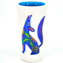 Howling Wolf Alebrije Printed Ceramic Tequila Shot Glass Shooter Made in Mexico image 1
