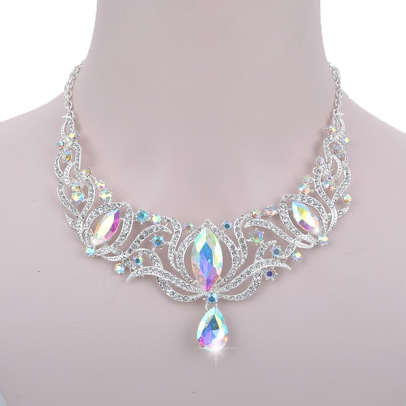 High quality india style silver Jewelry sets bridal necklace earrings set women  image 3