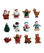 "HOLIDAY CRAFT Resin Ornaments 12pc Christmas Figures w/ Hangers - 1.25"" ... - $0.99"