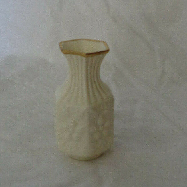 "Miniature Aynsley Bud Vase Camellia Cream pattern 3 1/2"" tall"