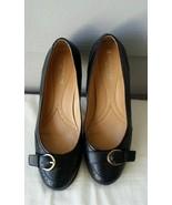 Naturalizer N5 Comfort Prema Black Leather Round Toe Pumps w/Buckle Deta... - $22.28