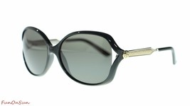 Gucci Women Oval Sunglasses GG0076S 001 Black Silver/Grey Lens 60mm Authentic - $202.73