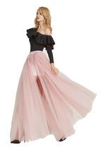 Maxi Slit Tulle Skirt Tulle Overskirt Floor Length Tulle Slit Skirt Open Skirt