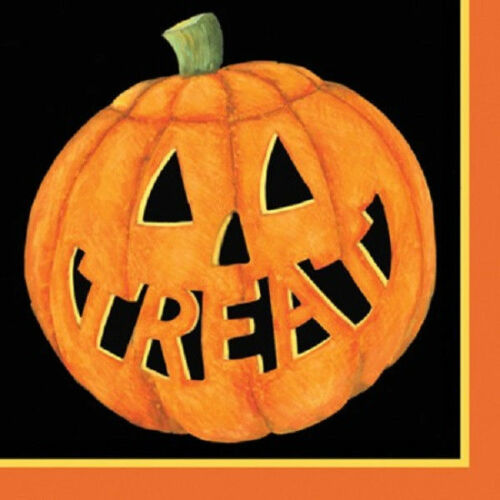 Halloween Pumpkin Smiles Paper Dessert Beverage Napkins 18 ct