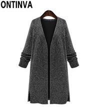 Plus Size Black Cardigans Sweater for Woman Fashion Oversized Full Sleev... - $43.62