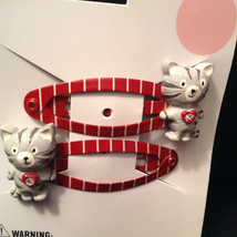 Gymboree Girl Tiger Love Line Red Grey Barrette/Clips NWT Kitten, Cat Kitty Cute - $9.95