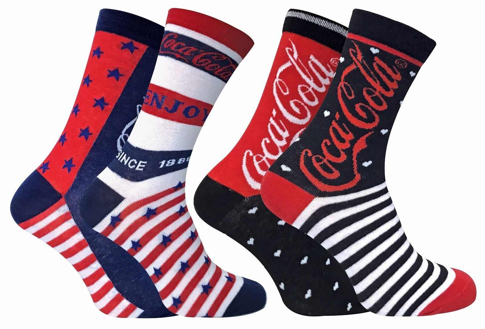 Coca Cola - 2 Pack Womens Stars and Stripes Patterned Novelty Cotton Crew Socks
