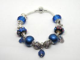 Blue Mickey Mouse European Murano Beaded Bracelet. Gift bag included - $19.95