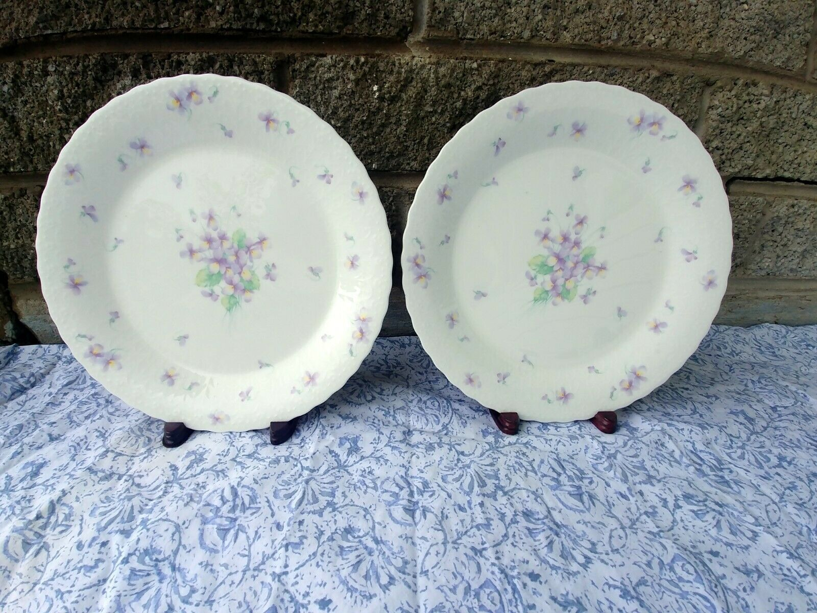 "2 Vintage Mikasa Bone China Blue Violets 10 1/2"" Dinner Plate - $42.95"