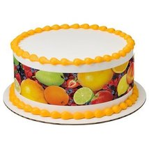 "8"" Round Fruit Photoreal Designer Strips Edible Cake Borders Decoration - $9.99"