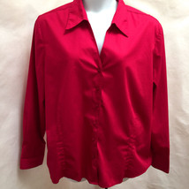 Plus Size 3X Top Red Button Down Shirt French Cuffs ME Modern Essentials... - $21.54
