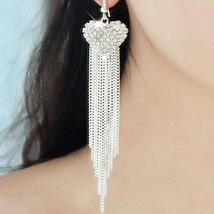 Long Tassels Earring Rhinestone Crystal  Dangle Linear Bohemian Drop Ear... - $15.99