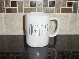 Rae Dunn FIGHTER Rustic Mug, Ivory with Black Letters, New! - $13.00