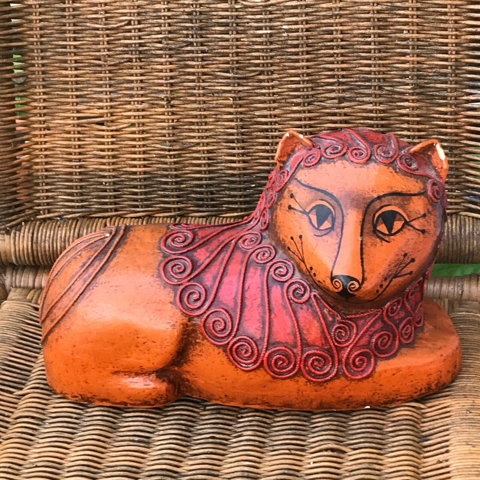 MEXICAN FOLK ART Gemma Taccogna Lion Orange Paper Mache Cat papier-mâché 1960s - $189.99