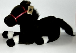 1/2 Price! Black Horse Plush Fancy Zoo Red Bridle Large Collectible - $8.00