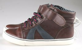 0Cat & Jack Bébé Garçons' Marron Ed Baskets Mi Haut Chaussures 12 US Nwt image 3