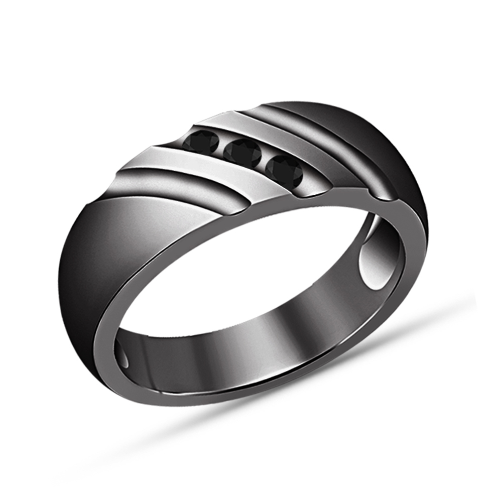 Round Cut Black Diamond Engagement Wedding Bridal Ring Set 14k Black Gold Finsih